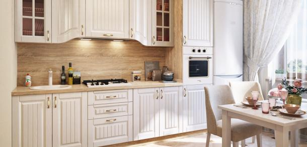 Кухня в классическом стиле Эльзас Лайт Белый жемчуг фото