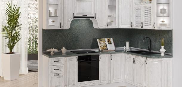 Кухня в классическом стиле Эмилия Лайт Вуд Белый патина фото