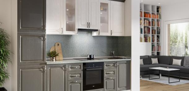 Кухня в классическом стиле Эмилия Лайт Вуд Белый Вуд Графит фото