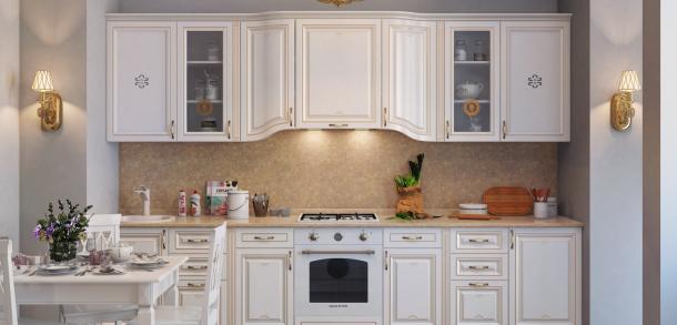 Кухня в классическом стиле Лозанна Лайт Белый патина фото