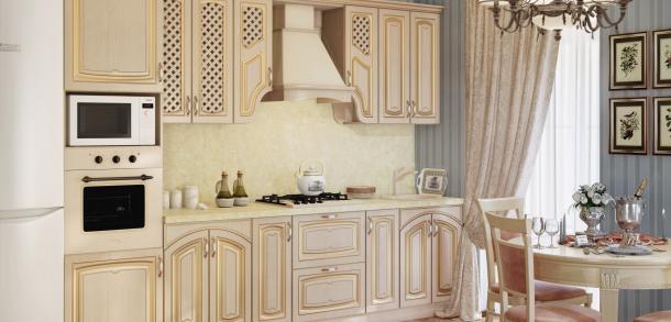 Кухня в классическом стиле Милана Лайт Береза патина фото