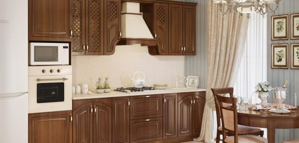 Кухня в классическом стиле Милана Лайт Орех патина фото