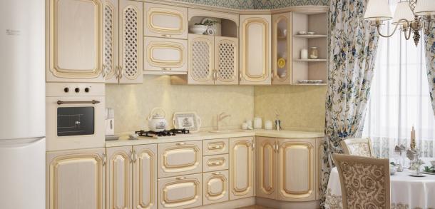 Кухня в классическом стиле Моника Лайт Береза патина фото