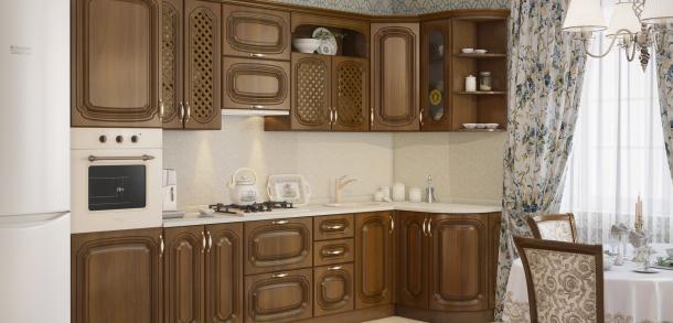 Кухня в классическом стиле Моника Лайт Орех патина фото