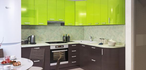 Кухня в стиле модерн Фиджи Лайт Лайм глянец Венге фото