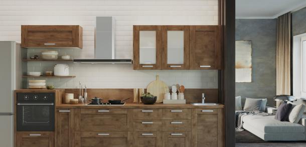 Кухня в стиле модерн Фиеста Лайт Дуб Крафт табачный фото