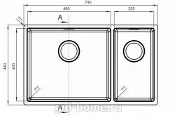 Мойка для кухни Оптима-НМ 460/220.400.20. фото 2