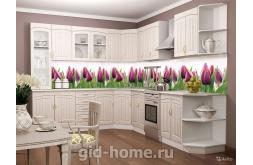кухонный фартук из пластика Тюльпаны в интерьре