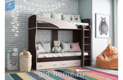 Детская кровать 2 яруса Мийа А Венге дуб молочный фото