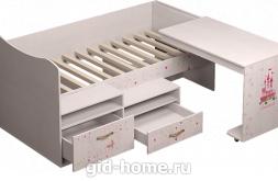 Детская кровать со столом Принцесса №12 1151×1906×838 фото