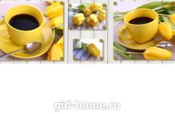 Фартук для кухни из МДФ 004 Желтые тюльпаны   695х2070х4мм