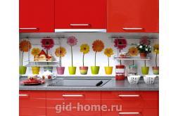 Кухонный фартук из ABS пластика Герберы в интерьере 2