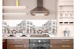 Кухонный фартук из ABS пластика Уличное кафе в интерьере 5