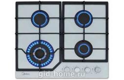 Газовая встраиваемая варочная панель Midea 4 конфорочная MG 684 TGW фото 3