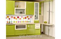 Кухонный фартук из ABS пластика Герберы в интерьере 3