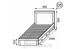 Кровать детская одинарная с ящиками Ультра №5  2068×968×900 схема