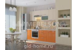 Кухня Виктория белый выниль оранж
