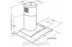 Купольная вытяжка для кухни  AKPO WK-4 Largo eco 60 см.  нержавейка схема
