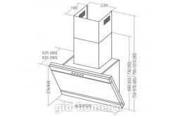 Наклонная вытяжка для кухни. WK-10 Kastos 60 см. белый схема