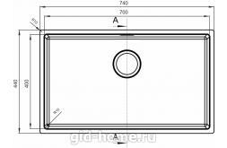 Мойка для кухни Оптима-НМ 700.400.10.10 чертеж