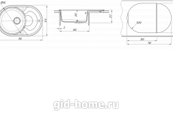 Мойка для кухни Родос 760 схема
