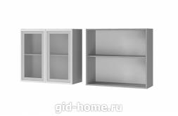 Шкаф настенный 2-дверный 8В2 800x720x310 со стеклом Люкс Лазурь