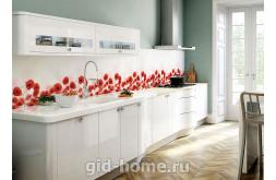 Кухонный фартук из ABS пластика Маки в интереьере