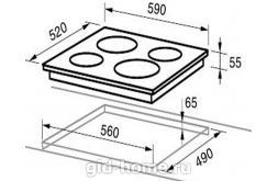 Варочная индукционная панель Midea встраиваемая 4 конфорочная MIH 67838 F схема
