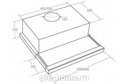 Встраиваемая вытяжка для кухни AKPO WK-7 Light eco glass 50 см.белый схема