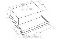 Встраиваемая вытяжка для кухни AKPO WK-7 Light eco glass 50 см.чёрный схеа