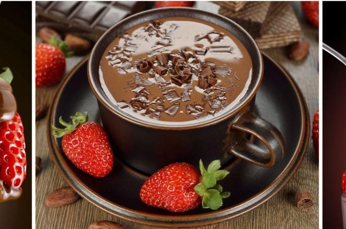 Фартук для кухни из МДФ Клубника в шоколаде   695х2070х4мм