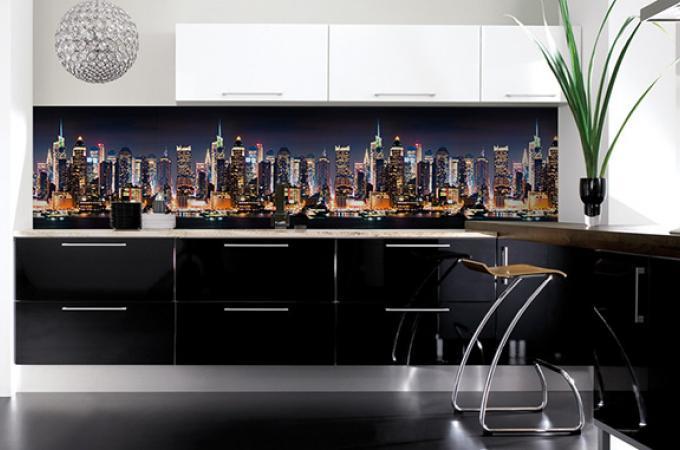 Кухонный фартук из ABS пластика Город в интерьере