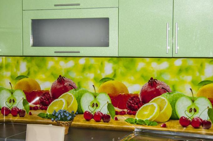 Кухонный фартук из ABS пластика Фрукты в интерьере 1