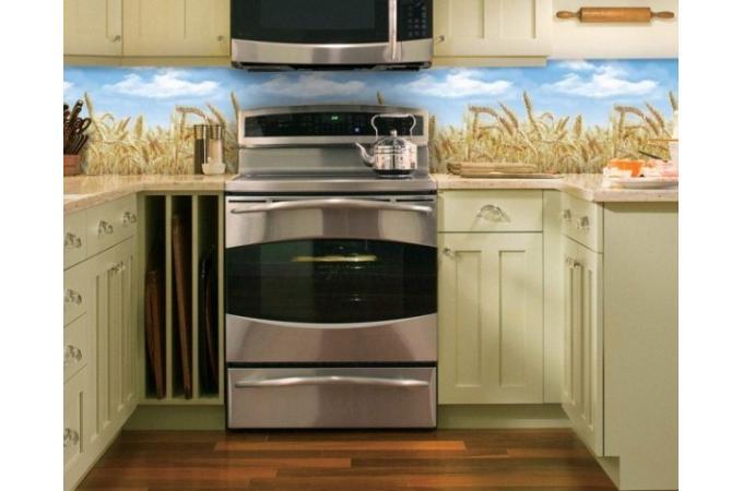 Кухонный фартук из ABS пластика Пшеница в интерьере 2