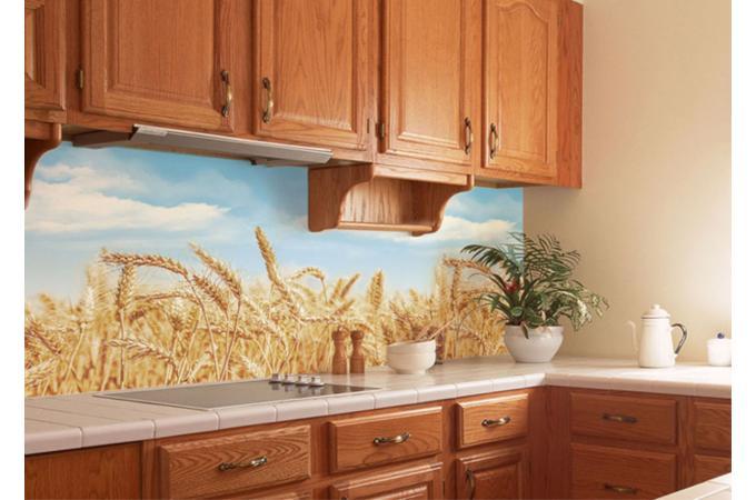 Кухонный фартук из ABS пластика Пшеница в интерьере 1