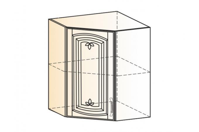 Венеция шкаф навесной угл. L600х600 H720 (1 дв. гл.)