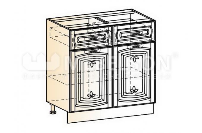 Венеция шкаф рабочий L800 (2 двери глухие, 2 ящик)