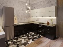 Кухня в стиле модерн Фиджи Лайт Ваниль Черный глянец фото